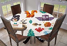Kids Round Tablecloth,Cute Cheerful Poly Art Style