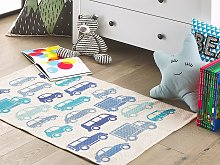 Kids Rug Blue and White Cotton Fabric 60 x 90 cm