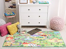 Kids Rug Green Polyester City Road Map Town Print
