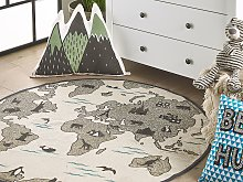 Kids Rug Taupe Continents Print 120 cm World Map
