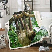 Kids Sloth Sherpa Throw Blanket Cute Animal