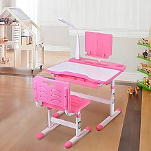 Kids Study Table and Chair Set, Pink Childrens