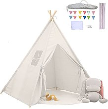 Kids Teepee Play Tent with Pocket And Flag,