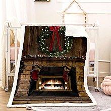 Kids Throw Blanket Christmas Fireplace Throw