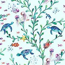 Kids Under the Sea Animals Wallpaper - Light Teal