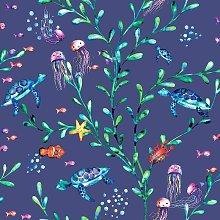 Kids Under the Sea Animals Wallpaper - Navy 90942