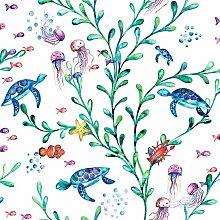 Kids Under the Sea Animals Wallpaper - White /