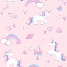 Kids Unicorns Rockets and Rainbows Wallpaper -