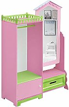 Kids Wardrobe Children Storage Cabinet with Mirror