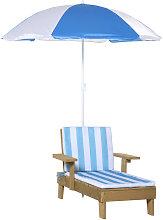 Kids Wooden Lounge Chair & Parasol Umbrella Set