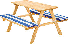 Kids wooden picnic bench - blue/white