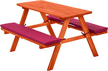 Kids wooden picnic bench - red