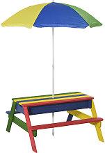 Kids Wooden Picnic Table & Parasol Set Bright
