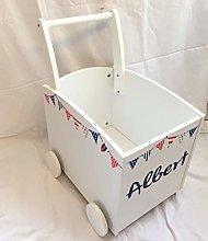 Kids Wooden Walker Storage Push Cart Toy Box
