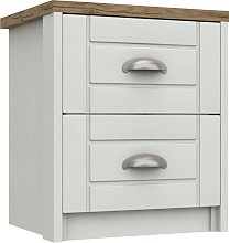 Kielder 2 Drawer Bedside Table - White