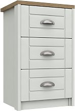 Kielder 3 Drawer Bedside Table - White