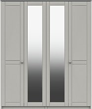 Kielder 4 Door 2 Mirror Wardrobe - Grey