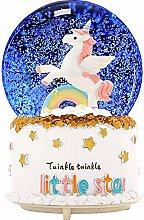 KiKa Monkey Unicorn Snow Globe Glass Music Boxes