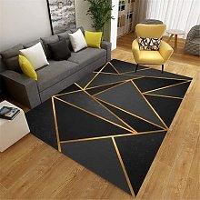 KIKCY Patio Rug Black Salon Carpet Black Classic