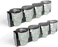 Kikkerland Skull Shot Glass Set of 8 Shot Glasses