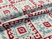 Kilim Aztec Spanish Geometric Diamond Tile Fabric