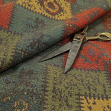 Kilim Patchwork Chenille Grey Red Blue Green