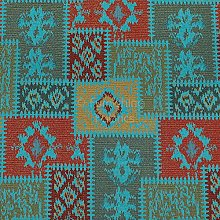 Kilim Patchwork Chenille Teal Blue Green Red