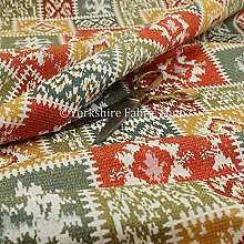 Kilim Patchwork Chenille White Orange Green Yellow