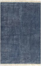 Kilim Rug Cotton 120x180 cm Blue - Blue - Vidaxl