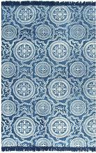 Kilim Rug Cotton 160x230 cm with Pattern Blue -