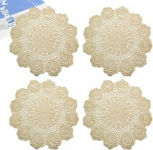 kilofly Handmade Crochet Round Cotton Lace Table