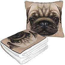 KIMDFACE Travel and Throw Blanke,Pug Detailed