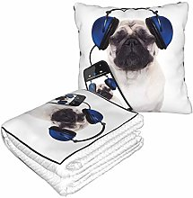 KIMDFACE Travel and Throw Blanke,Pug Dog Listening