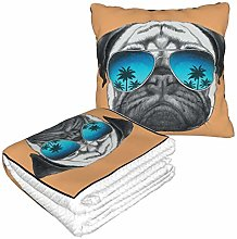 KIMDFACE Travel and Throw Blanke,Pug Dog