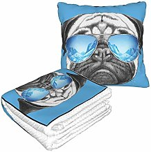 KIMDFACE Travel and Throw Blanke,Pug Portrait With