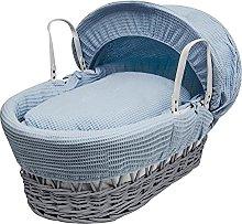 Kinder Valley Blue 100% Cotton Waffle Moses Basket