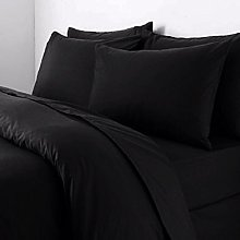 King Black Polycotton 50/50% Duvet Quilt Cover