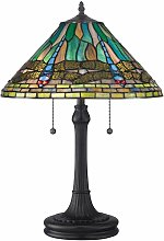 King lamp, vintage bronze and Tiffany glass
