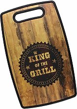 King of The Grill Wood/Black Printed Chopping