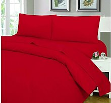 King Red Plain Dyed PolyCotton Hotel Quality Quilt