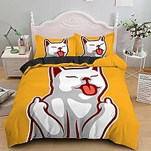 King Size Duvet Cover Yellow animal animation,