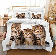 King Size Duvet Set Animal Brown Cat 200x200 Cm