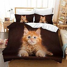 King Size Duvet Set Animal Brown Cat 260x220 Cm
