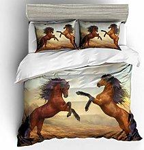 King Size Duvet Set Animal Brown Horse 135x200 Cm