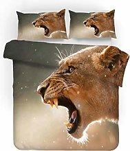 King Size Duvet Set Animal Brown Tiger 230x220 Cm