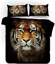 King Size Duvet Set Animal Brown Tiger 260x220 Cm