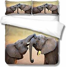 King Size Duvet Set Animal Gray Elephant 230x220