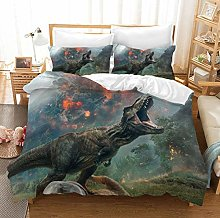 King Size Duvet Set Animal Green Dinosaur 135x200