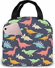 KINGAM Cartoon Dinosaur Insulated Lunch Bag