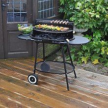 Kingfisher Oval Trolley Charcoal Barbecue
